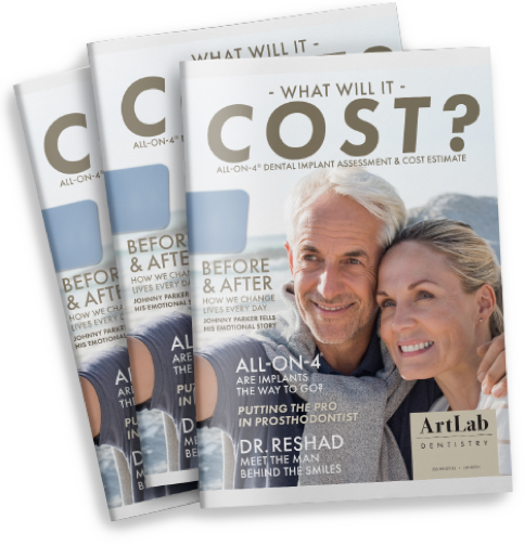 All-On-Four Assessment Cover showing what will it cost? and a picture of an older happy couple