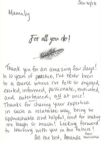 Thank you card to Dr. Mamaly Reshad of ArtLab Dentistry